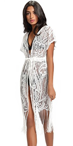 Costyleen Summer Womens Beach Wear Cover up Swimwear Bikini Lace Floral Long Maxi Beach Dress White, -
