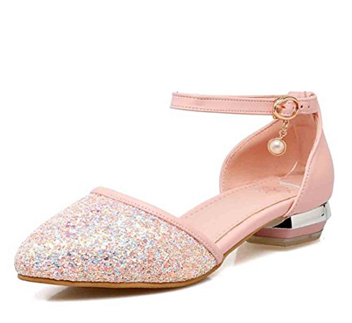 Easemax Womens Sequins Ankle Buckle Straps Pendant Pointed Toe Low Chunky Heel Sandals Pink BvJOcxG