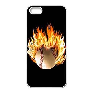 wugdiy Custom Case for iPhone 5,5S with Personalized Design fire baseball