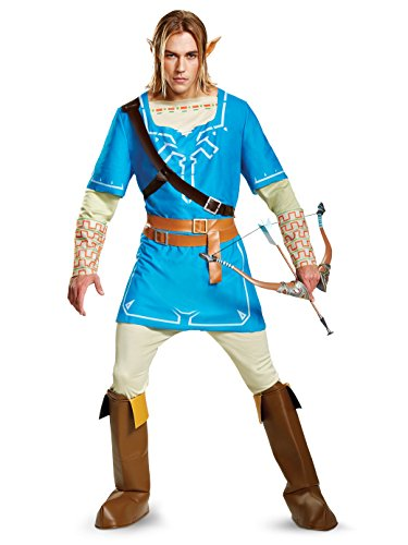 Disguise Men's Link Breath of the Wild Deluxe Adult Costume, Blue, Medium -