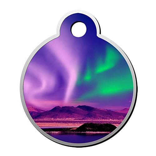 Qeksow Customizable Round Shape ID Tags, Alaska Night Sky Personalized Double Sided Printed Pet Information Collar for Cat Dog