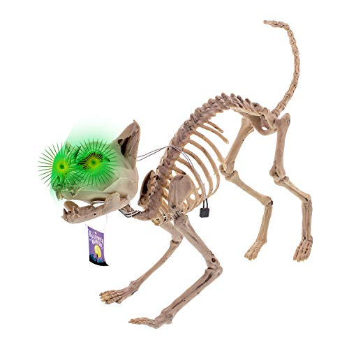 Halloween Haunters Life Size Skeleton Meowing Kitty Cat with Light-Up Green Eyes Prop Decoration - Scary 10