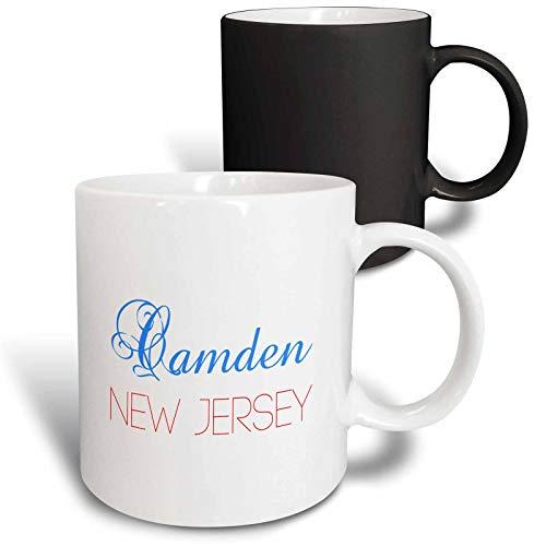 3dRose Alexis Design - American Cities New Jersey - Camden, New Jersey, red, blue text. Patriotic home town design - 11oz Magic Transforming Mug (mug_300821_3)