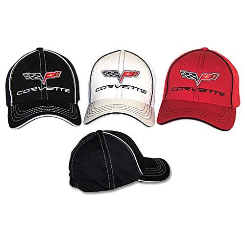 Gregs Automotive Compatible Corvette C6 Chevrolet Hat Cap Flex-Fit - Bundle with Driving Style Decal (Black)