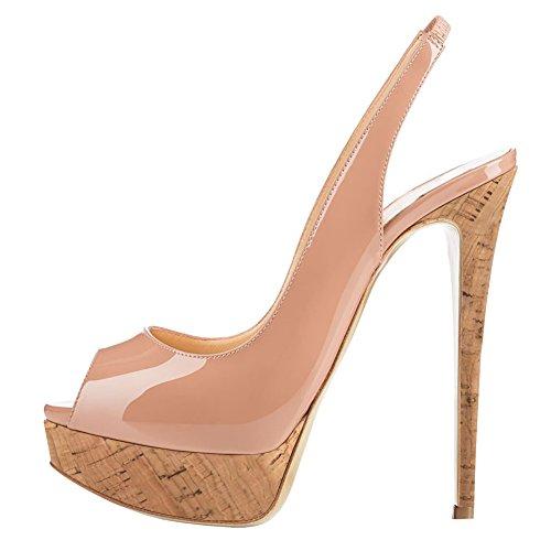 MERUMOTE Women's Slingbacks Peep Toe High Heels Shoes Platform Pumps Wood&Nude 9US (Platform Women Slingback Heel Pump)