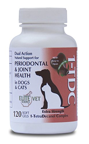 "1-TDC | Delivers 4 Major Health Benefits for Dogs & Cats - Oral Health - Hip & Joint Health - Muscle Stamina, Recovery & Mobility - Skin & Coat Health | 120 ""Twist off"" Soft Gels = 8 Month Supply for 25 lb. Animal (1 Dog)"