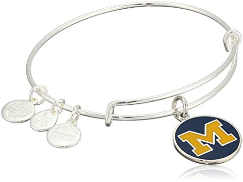 Alex and Ani Women's Color Infusion University of Michigan Logo II EWB Bracelet, Shiny Silver