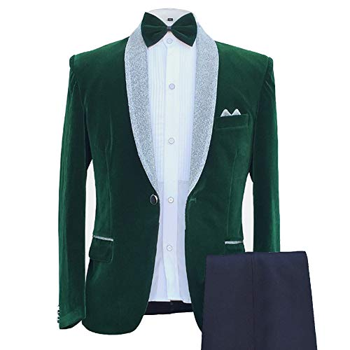 MAGE MALE Men's 2-Piece Suit Velvet Blazer Party Tuxedo Slim Fit One Button Stylish Dinner Jacket & Pants & Bow Tie (025-Green, Medium) - Velvet Big Shirt