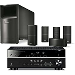 Bose Acoustimass 10 Series V Wired Home Theater Speaker System, Black, with Yamaha RX-V483 AV Bluetooth Receiver