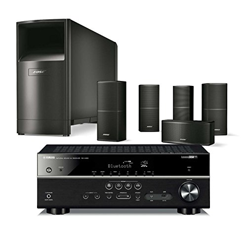 Bose Acoustimass 10 Series V Wired Home Theater Speaker System, Black, with Yamaha RX-V483 AV Bluetooth Receiver by Bose