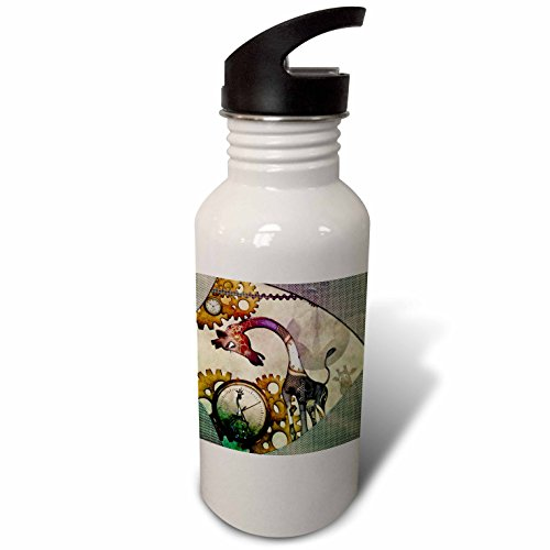 3dRose Heike Köhnen Design Steampunk – Steampunk, cute steampunk giraffe, clocks and gears – Flip Straw 21oz Water Bottle (wb_262386_2)
