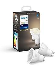 Philips Hue Spot 2-Pack - GU10 - Duurzame LED Verlichting - Warmwit Licht - Dimbaar - Verbind met Bluetooth of Hue Bridge - Werkt met Alexa en Google Home