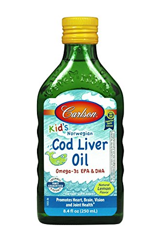Carlson Labs Norwegian Carlson for Kids Natural Vitamin E Cod Liver Oil, Lemon, 250ml Glass Bottle
