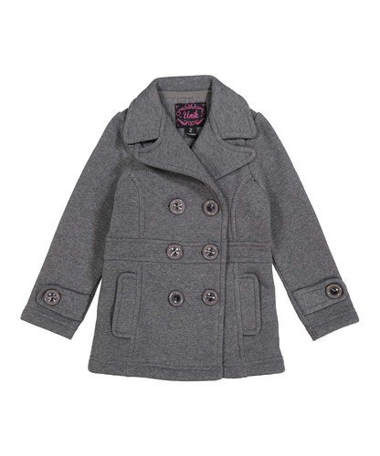 unik Girl Fleece Coat with Buttons, Dark Grey Size 2]()