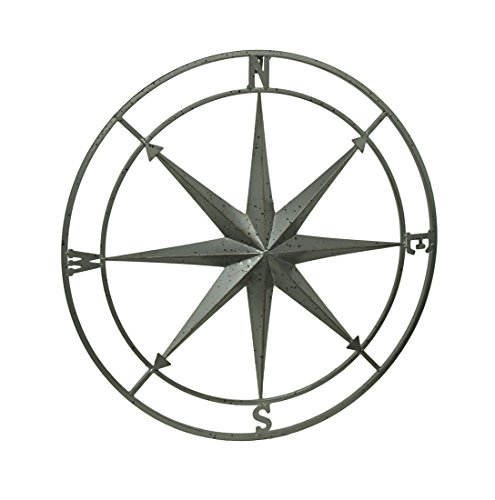 Zeckos Weathered Silver Finish Framed Compass Rose Metal Wall Hanging