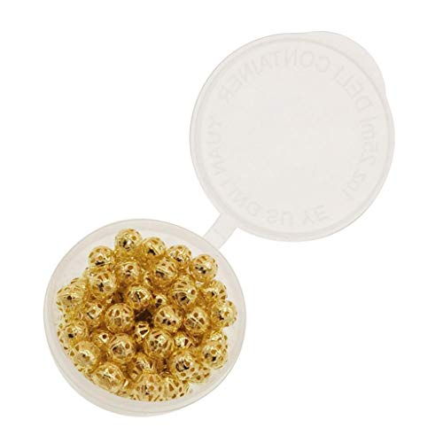 SM SunniMix 280 Pieces Bulk Hollow Filigree Round Ball Metal Spacer Beads for Jewelry Making DIY Craft Projects 6mm Hollowed Package in Clear Storage Box - Golden