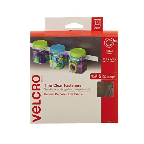 VELCRO Brand - Thin Clear Fasteners | Perfect for Home or Office | 15ft x 3/4in Tape