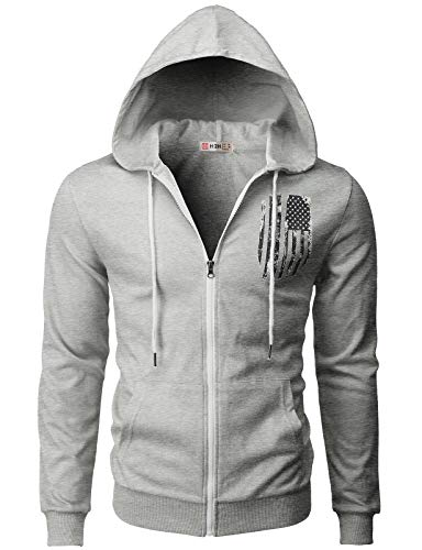 H2H Mens Casual Zip-up Hoodie Double Cotton Lightweight American Flag Printed Hooded Gray US L/Asia XL (CMOHOL065)