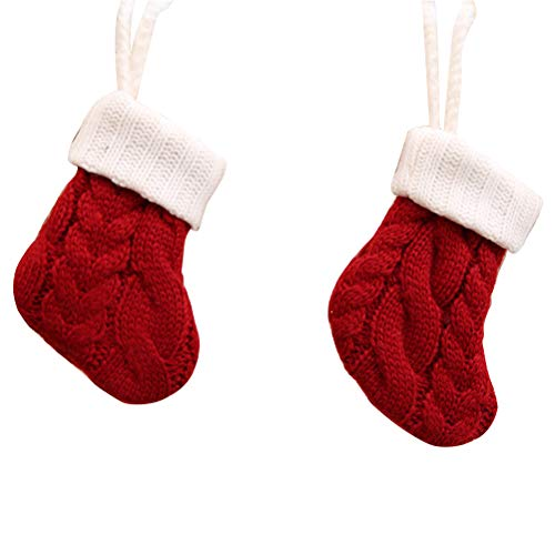 (4Pcs Christmas Sock Party Decorations Tableware Cutlery Silverware Holders Candy Pouch Bag Hanging Mini Xmas Knitted Santa Sock)