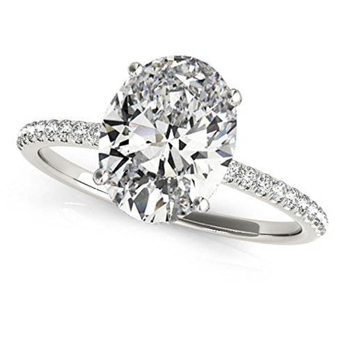 Allurez Diamond Accented Oval Shape Engagement Ring Palladium (2.50ct) ()