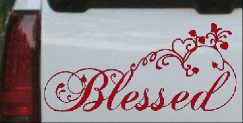 Blessed With Swirls Hearts Christian Car Window Wall Laptop Decal Sticker -- Red 5in X 10.7in