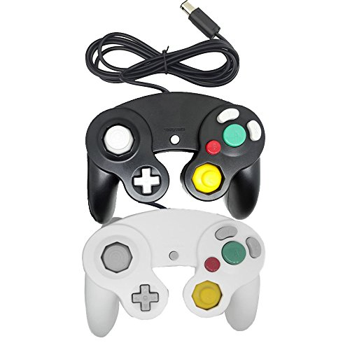 Poulep 2 Packs Classic Wired Gamepad Controllers for Wii Game Cube Gamecube Console (Black and White)