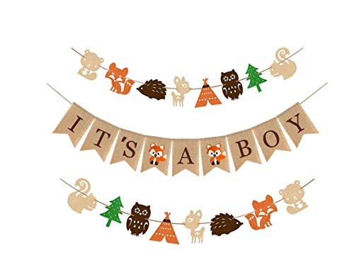 Woodland Baby Theme (Woodland Themed Baby Shower Party Supplies and Decorations For Boys,1 It's A Boy Rustic Burlap Banner,2 Fox Deer Forest Animal Garland,Country Shower Nursery Favors and Decor,Natural Baby Boy Room)