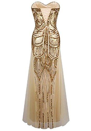 Gown Backless golden Fit Sequin Slim Bridesmaid Fashion Women Coolred Elegant TgqRUU
