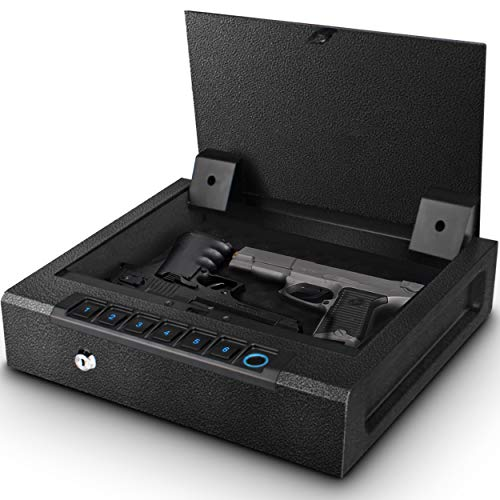 Biometric Gun Safe for Pistols, Quick Access Handgun Safe for Home, Fingerprint Hand Gun Safe Firearm Case Box -Upgraded Biometric/Keypad/Key Access,Silent Mode,Rugged Construction,Auto Open Lid