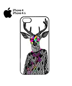Deer Big Horn Colourful Jumper Cell Phone Case Cover iPhone 4&4s Black