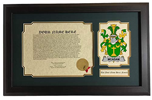 McAdam - Coat of Arms and Last Name History, 14x22 Inches Matted and ()