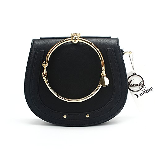 Yoome Elegant Rivets Punk Style Circular Ring Handle Handbags Cute Lune Satchel Round Bracelet Wristlet Crossbody Bags For Girls - Brown.lune - Upgraded Version Black