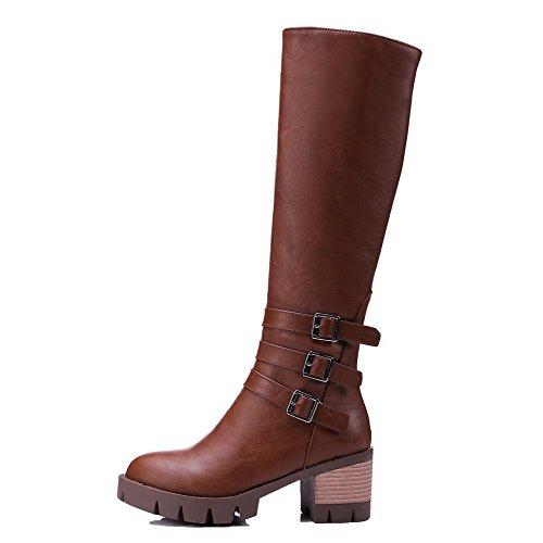 Allhqfashion Solid Closed Brown Mid Toe Women's Heels Kitten Top Round Boots qxxRwFICr