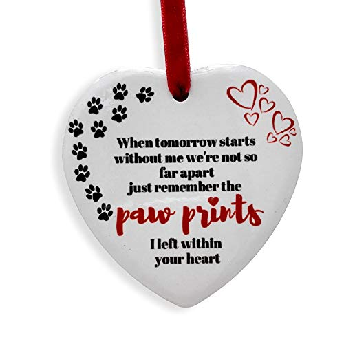 BANBERRY DESIGNS Pet Memorial Christmas Ornament – Paw Prints I Left Within Your Heart Hanging Ceramic Heart - Paw Print and Heart Design – Keepsake Heart Pet Ornament ()