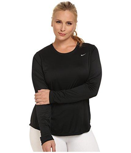 Nike Womens Miler Long-Sleeve Running Top (Size 1X-3X) Black/Reflective Silver T-Shirt 1X
