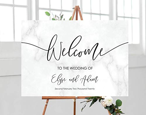 Printable Marble Wedding Welcome Sign Editable Welcome Sign