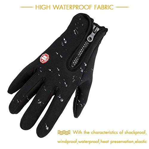 LSYCG Touch Screen Gloves, Winter Warm Thermal Gloves Black Gel Men & Women Gloves for Cycling, Running, Climbing and Winter Outdoor Sports - Waterproof & Windproof