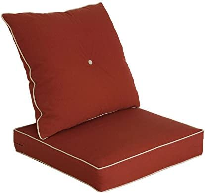 Bossima Cushions For Patio Furniture Outdoor Water Repellent Fabric Deep Seat Pillow And High Back Design Brick Red Amazon Sg Home