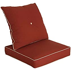 Bossima Cushions for Patio Furniture, Outdoor Water Repellent Fabric, Deep Seat Pillow and High Back Design, Brick Red