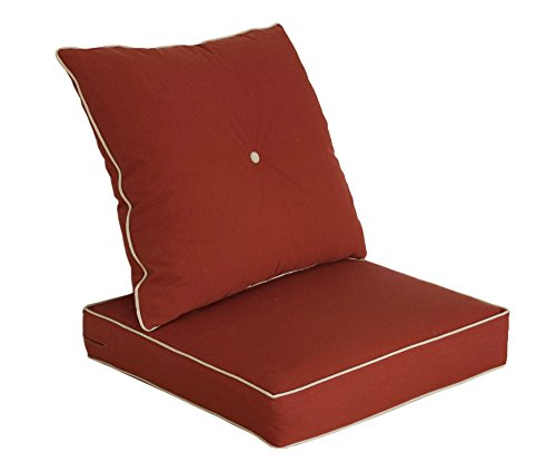 Sunbrella Brick - Bossima Cushions for Patio Furniture, Outdoor Water Repellent Fabric, Deep Seat Pillow and High Back Design, Brick Red