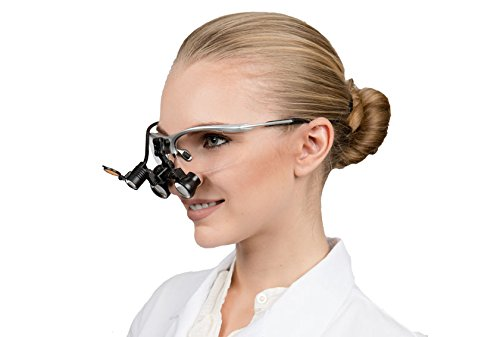2.5x Loupes and Led Headlight Combo -- Featured on ''Bones'' -- Dental Surgical Medical Binocular Loupes -- Five Working Distance Options -- Flip Up Sports Frame (Black, Blue, Silver, Pink, Red) by Schultz Loupes