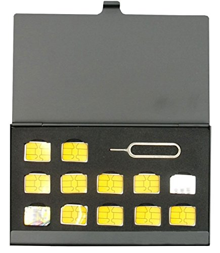 BlueCraft Slim Nano SIM Card Case (Max. 12 x nano SIM) Aluminum Storage Holder with SIM Card adapters & Eject Pin