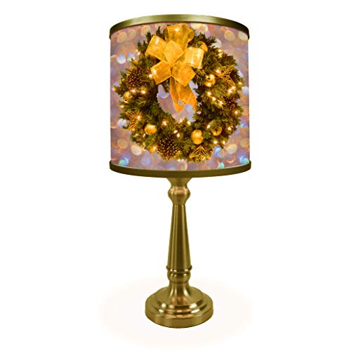 Corinthian Table Base - Golden Holiday Wreath Table Lamp - Museum Quality Art Print Illuminated on Shade