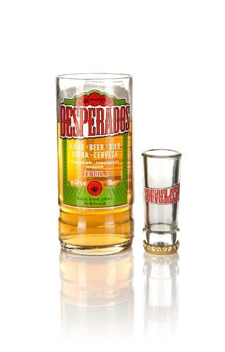 Reciclado Desperados botella de cerveza cristal y vasos de chupito (2 juego de) en caja de ...