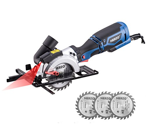 HERZO Compact Circular Saw Laser Guide Mini Circular Saw with 3 Wood Cutting Blades – 5.8A 3500 rpm