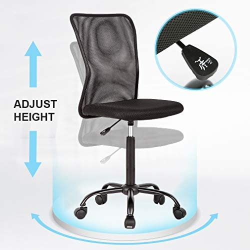 Vnewone Desk Executive Task Rolling Swivel Chair With Wheels Armless Lumbar Support Small Modern Adjustable Mid Back For Home Women, Men, Black