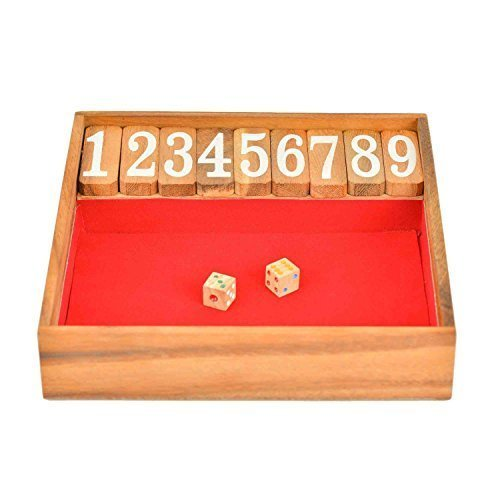 BRAIN GAMES Shut The Box Classic Wooden Family Board Games, Large