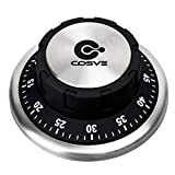 COSVE Kitchen Timer, 60 Minutes Countdown Loud Alarm Mechanical Rotating Timer Magnetic Stainless Steel for Cooking Baking