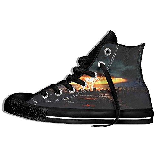 Baskets Montantes Classiques Chaussures De Toile Anti-dérapant Éruption Volcanique Occasionnels Marche Pour Hommes Femmes Noir