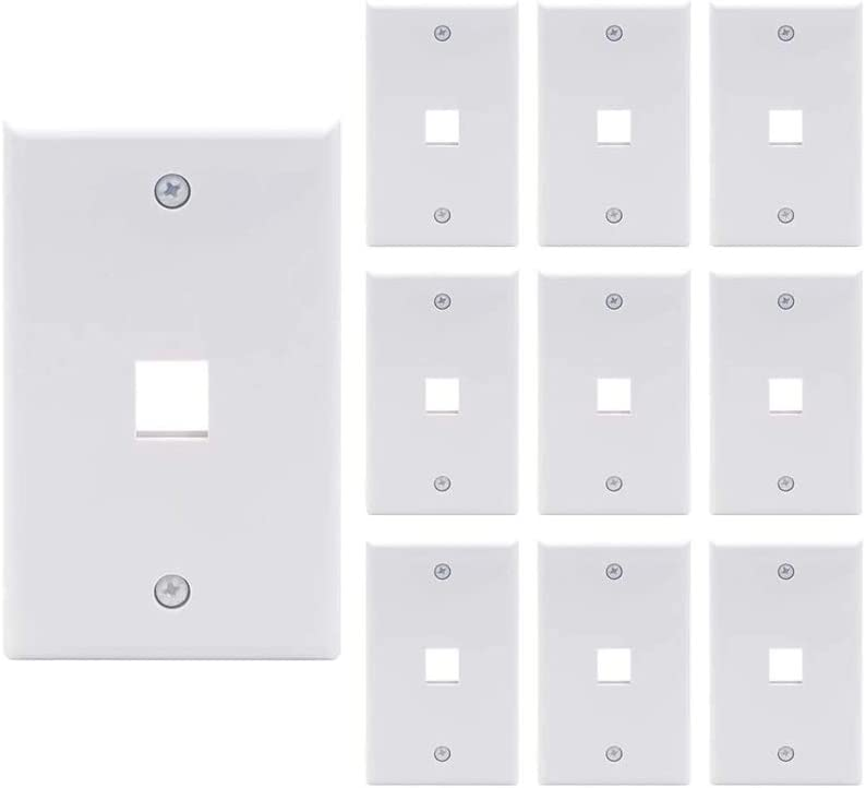 axGear 10 Packs Wall Plate 1 Port White Unbreakable Toggle Outlet Cover